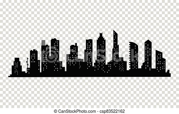 City silhouette. Modern urban landscape. Cityscape buildings silhouette on transparent background. City skyline with windows in a flat style - csp83522162