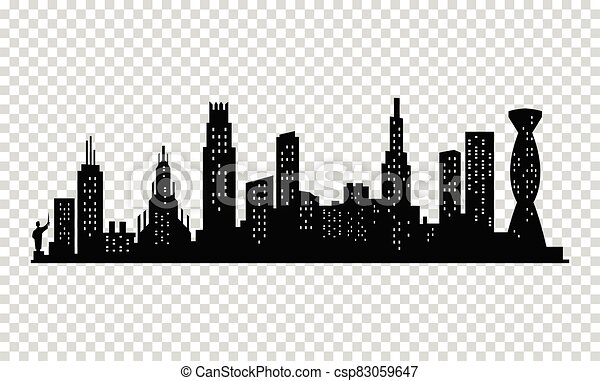 City silhouette. Modern urban landscape. Cityscape buildings silhouette on transparent background. City skyline with windows in a flat style - csp83059647