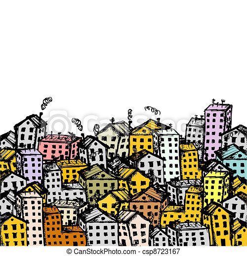 City sketch, background for your design - csp8723167