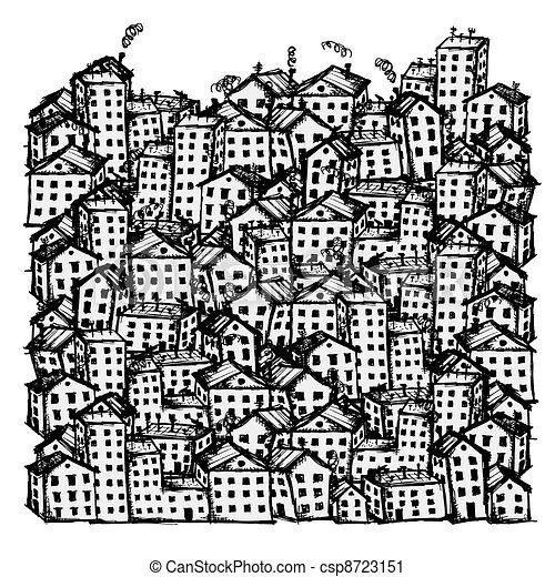 City sketch, background for your design - csp8723151