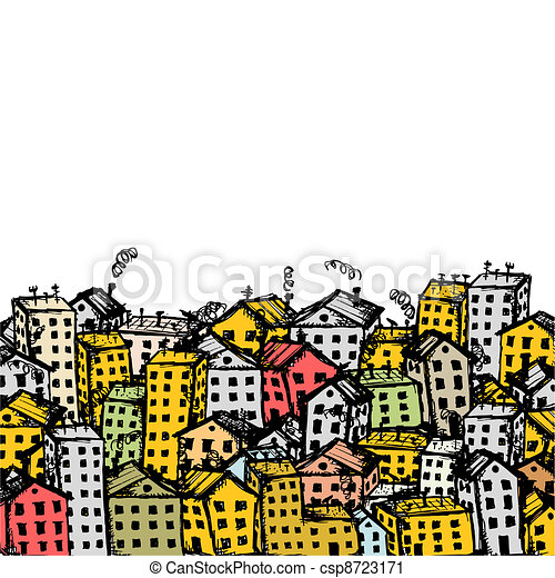 City sketch, background for your design - csp8723171