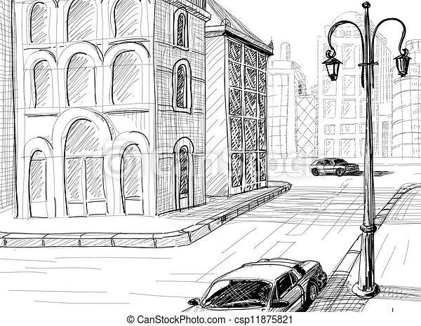 city sketch vector background