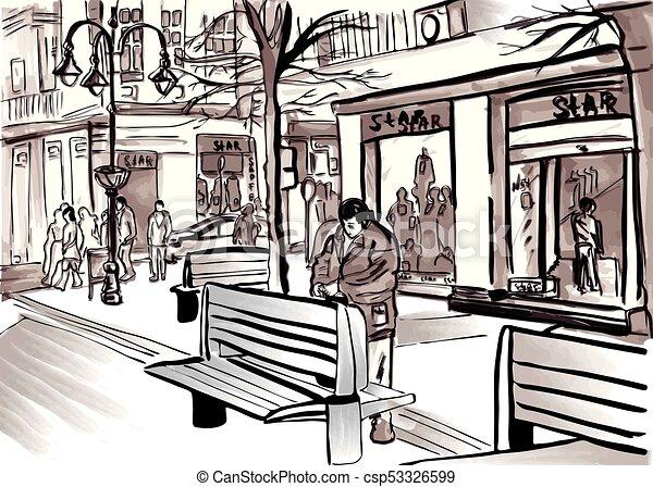 city sketch vector by pedestrian street life big town shop windows