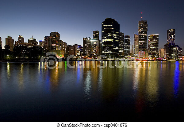city skyline at dusk by river - csp0401076