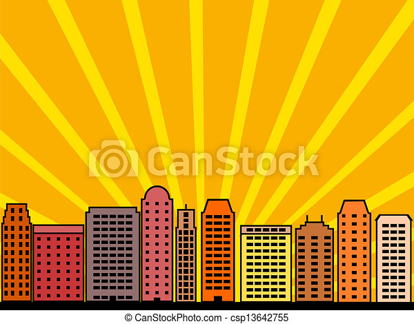 City Skyline Simple Illustration