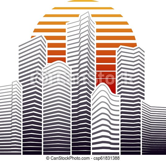 City skyline in flat style, urban landscape. Vector illustration. - csp61831388