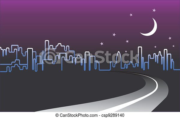 City Skyline Night Landscape - csp9289140