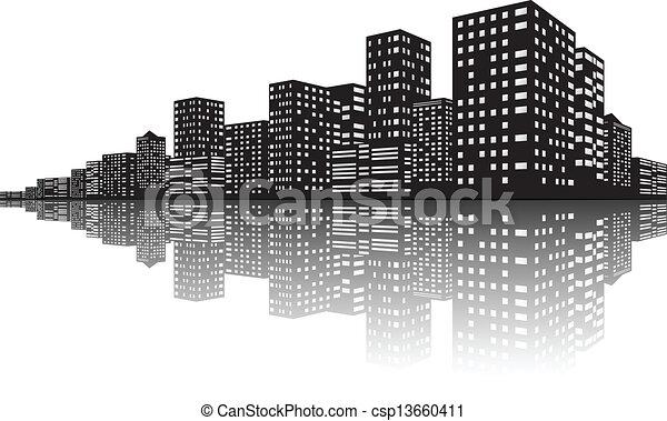 City Skyline Night scenes - csp13660411