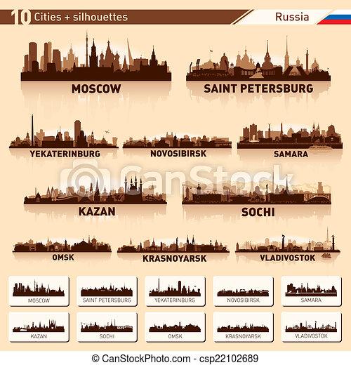City skyline set. 10 cities of Russia - csp22102689