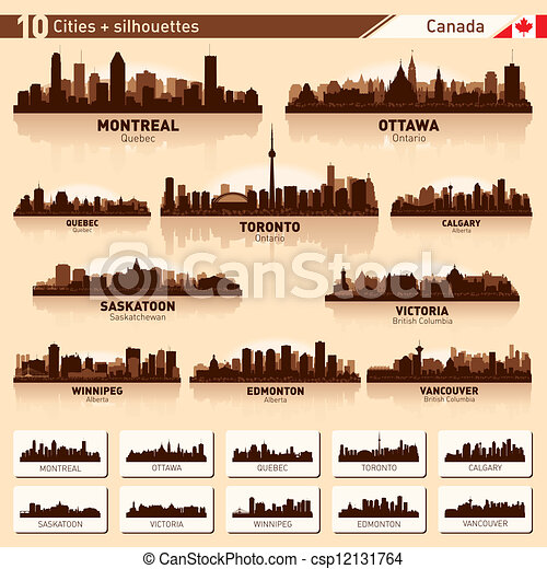 City skyline set. 10  city silhouettes of Canada #1 - csp12131764