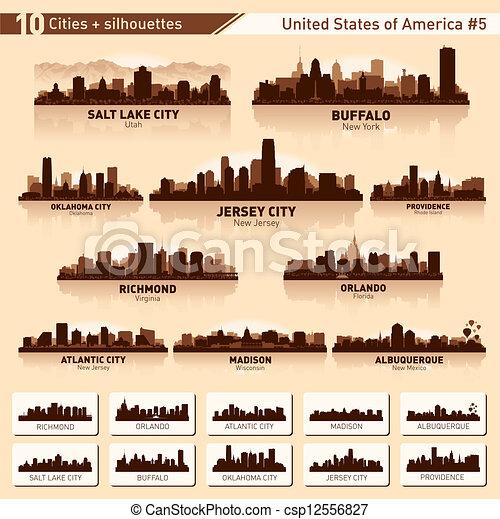 City skyline set. 10  city silhouettes of USA #5 - csp12556827
