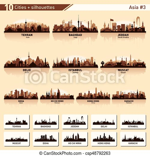 City skyline set 10 vector silhouettes of Asia #3 - csp48792263