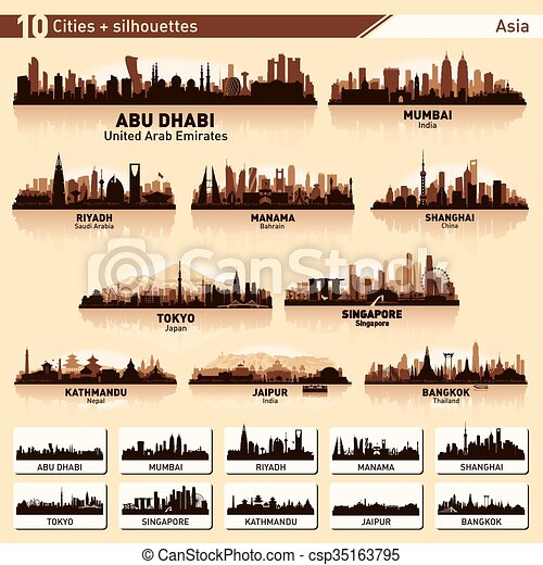 City skyline set 10 vector silhouettes of Asia #1 - csp35163795