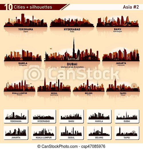 City skyline set 10 vector silhouettes of Asia #2 - csp47085976