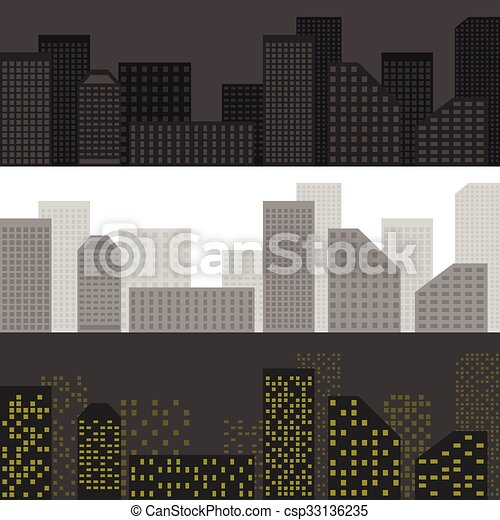 City skyline set - csp33136235