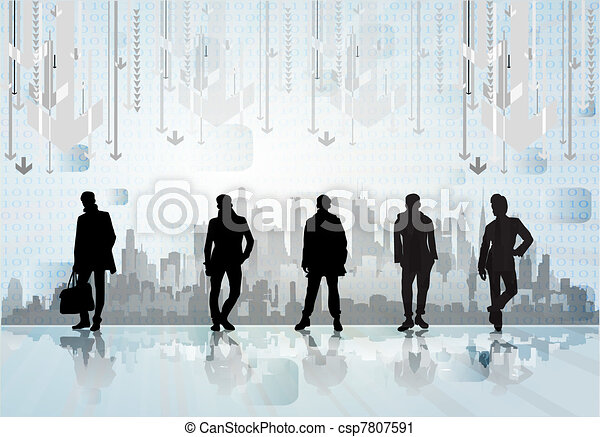 City skyline with business people - csp7807591