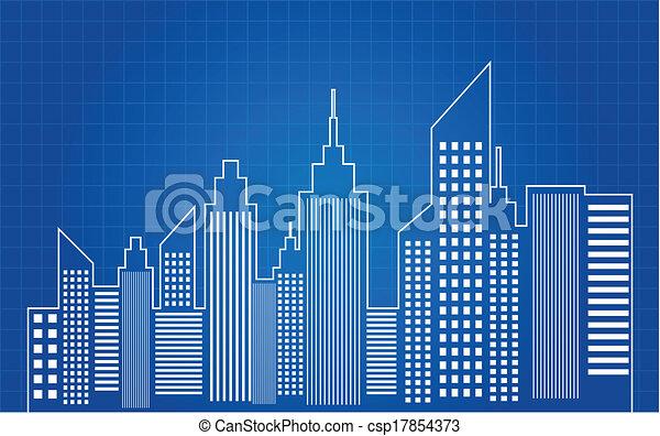 City Skyscrapers Skyline Blueprint - csp17854373
