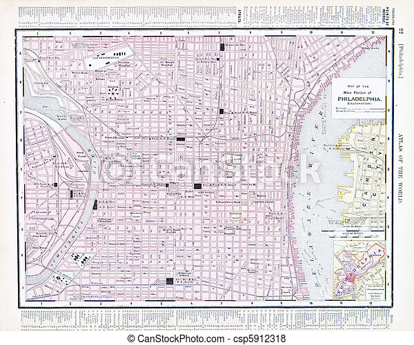 City Street Map of Philadelphia, Pennsylvania, USA