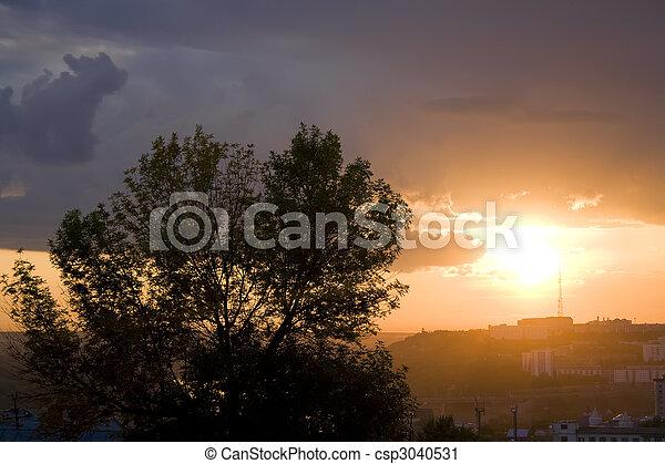 city sunset scene - csp3040531