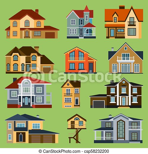 City town house vector facade face side street view city modern world house building cartoon architecture illustration. Cottage residential construction cityscape houses - csp58232200