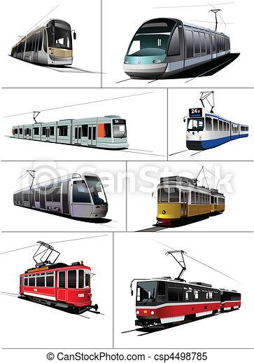 City transport. Tram. Vector illus - csp4498785