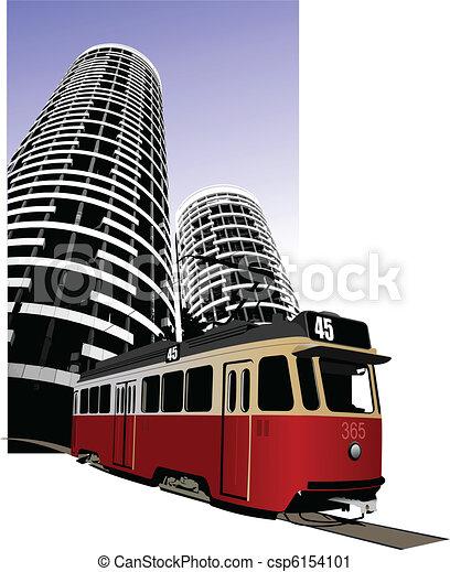 City transport. Tram. Vector illus - csp6154101