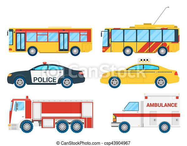 city transportation set with bus trolley and taxi vector clip rh canstockphoto com transportation clipart border clipart transportation black and white
