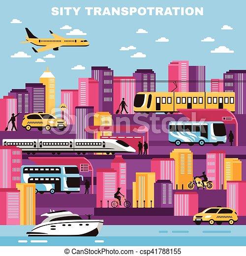 City Transportation Vector Illustration - csp41788155