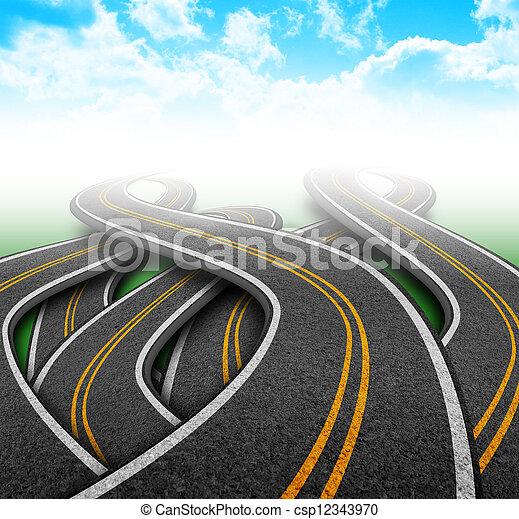 City Travel Roads in Clouds - csp12343970