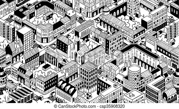 City Urban Blocks Isometric Seamless Pattern Small City Urban Beauteous Urban Pattern