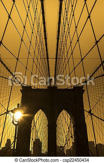 El puente Brooklyn, Nueva York. USA. - csp22450434