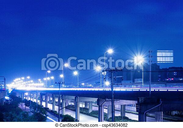 City viaduct road night scene - csp43634082