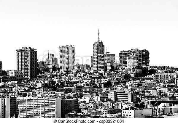 city view in black and white - csp33321884