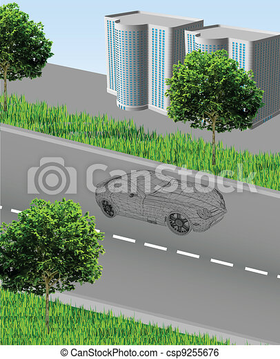 City ??with a road, grid car, houses, grass and trees. Vector - csp9255676