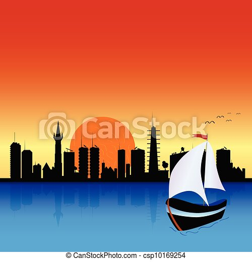 city with boat illustration - csp10169254