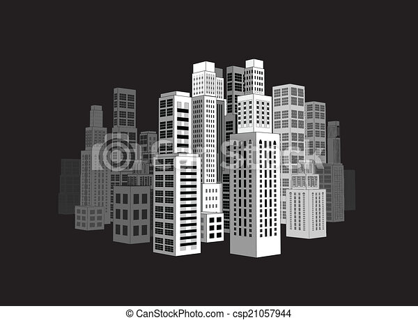 City with buildings and skyscrapers. - csp21057944