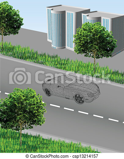City ??with road, car, houses, grass, trees - csp13214157
