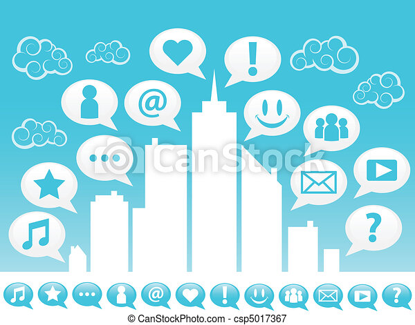 City with social media icons. - csp5017367
