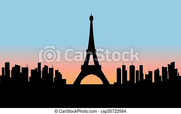 cityscape , πύργος , eiffel , περίγραμμα  - csp35722564