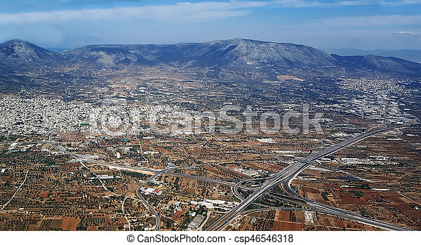 Cityscape aerial view, Athens Greece - csp46546318