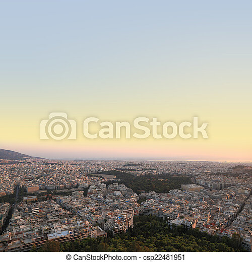Cityscape aerial view, Athens Greece - csp22481951