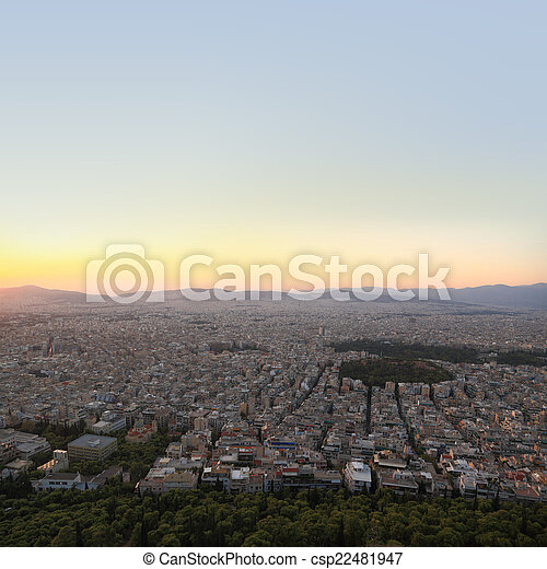 Cityscape aerial view, Athens Greece - csp22481947