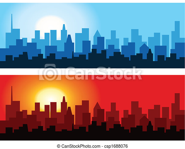 Cityscape at Dawn and Dusk - csp1688076
