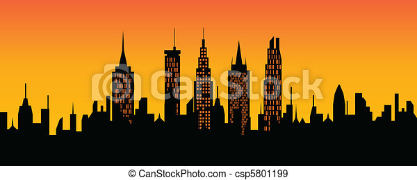 Cityscape at sunset - csp5801199