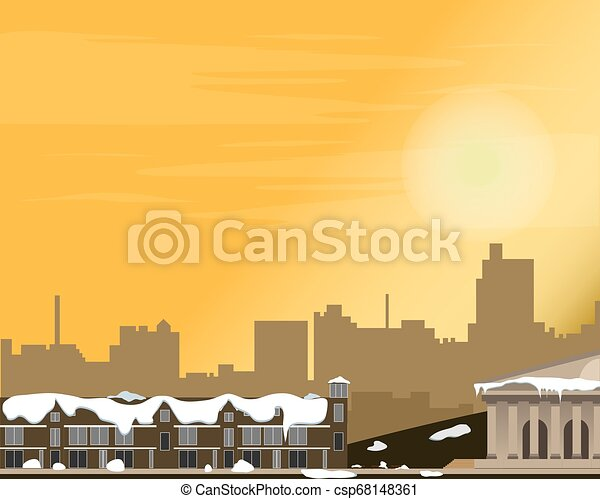 Cityscape at sunset. Panorama of the street. Winter. Vector illustration. - csp68148361