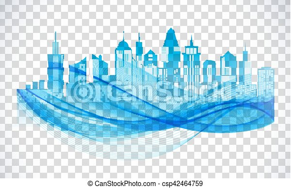 Cityscape blue icon on transparent background. Skyline silhouette - csp42464759