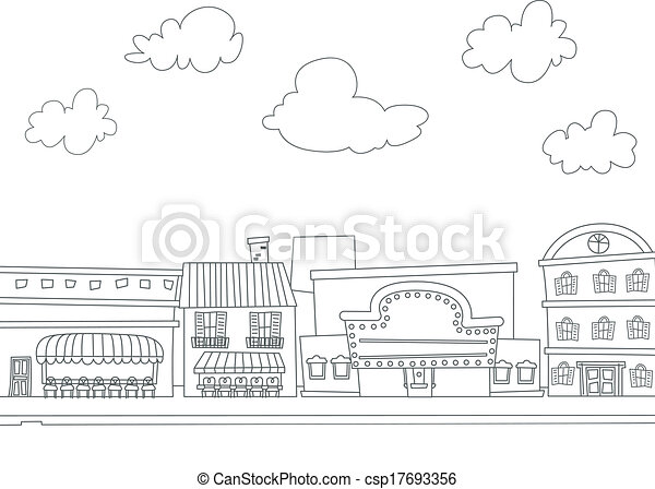 Clipart Vector Of Cityscape Coloring Page