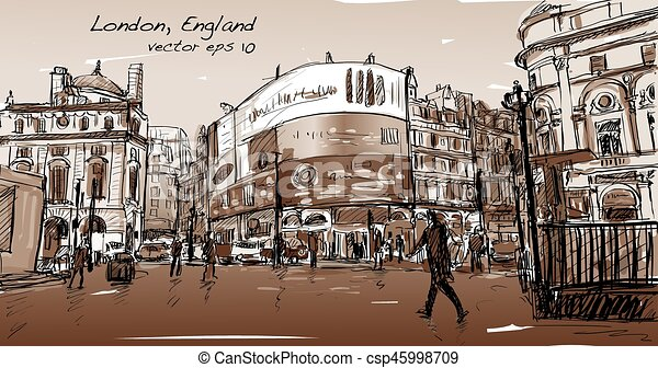 cityscape drawing sketch in London England, show walk street at corner LED light board in Sepia tone, illustration vector - csp45998709