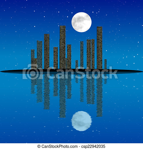 Night Cityscape erzeugte Textur - csp22942035