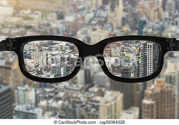 cityscape, fokus, brille - csp59364328
